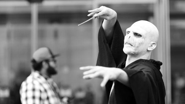Voldemort odgrywany przez fana podczas konwentu komiksowego w Nowym Jorku