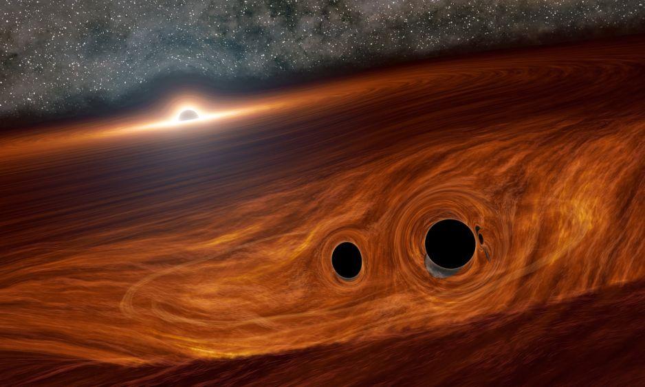 Matka Natura podbiła stawkę. Naukowcy zdołali zobaczyć zderzenie trzech czarnych dziur fot.  R. Hurt/IPAC/Caltech