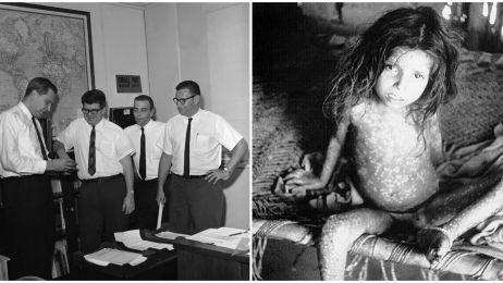 Donald Henderson (pierwszy od lewej) wraz ze swoim zespołem oraz dziecko cierpiące na ospę
