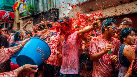 Bitwa na pomidory,  La Tomatina, Hiszpania