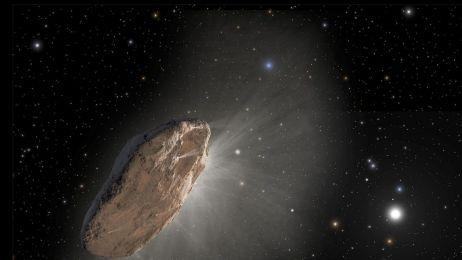 Grafika pokazuje kometę Oumuamua, pierwszego wykrytego międzygwiezdnego gościa. 30 sierpnia astronom-amator wykrył prawdopodobnego następcę, kometę o nazwie C / 2019 Q4 (Borysów). Ścieżka orbity komety zdecydowanie sugeruje, że dokonuje ona jednorazowej w