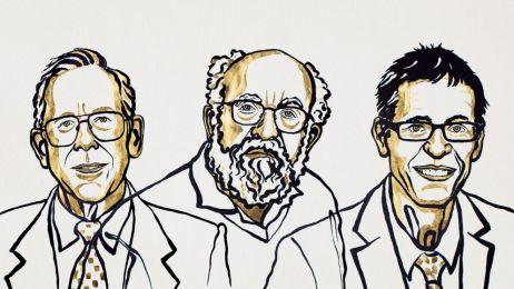 Laureaci Nobla 2019 z fizyki: James Peebles z Uniwersytetu Princeton w USA, Michel Mayor z Uniwersytetu Genewskiego w Szwajcarii oraz Didier Queloz, pracownik Uniwersytetu Cambridge w USA oraz Uniwersytetu Genewskiego/fot. nobelprize